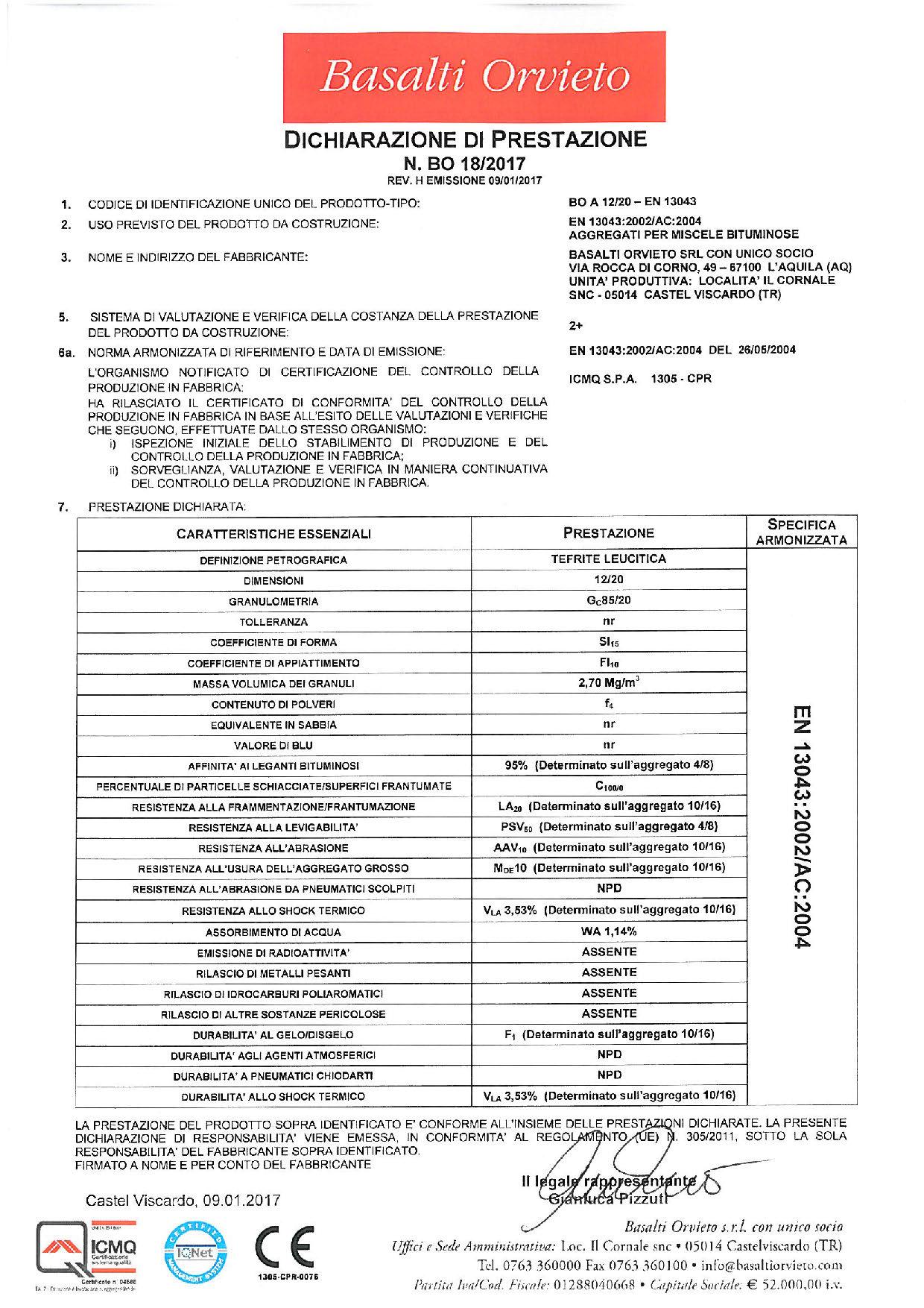 Asfalto_DoP 12-20 - EN 13043