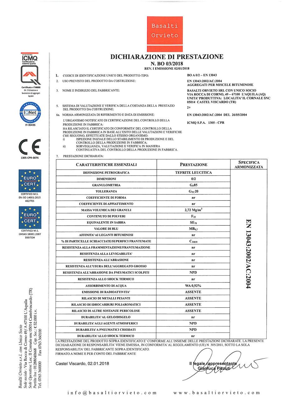 DoP 0-2 - EN 13043