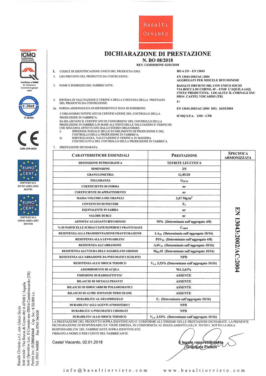 DoP 2-5 - EN 13043